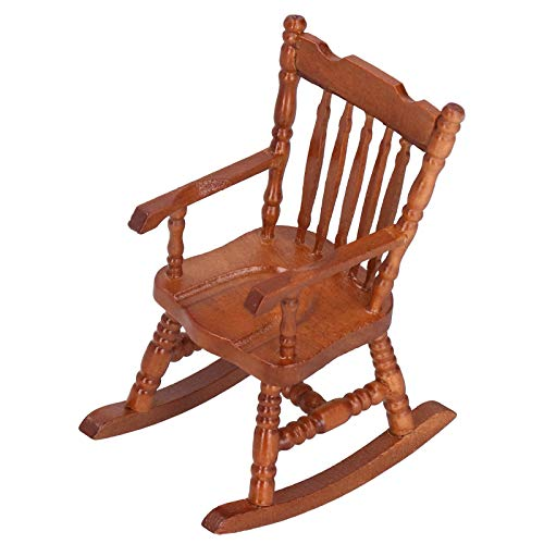 01 Vivid Design Dollhouse Furniture, Rope Seat DIY Miniature Rocking Chair, for Baby Children(Coffee color)