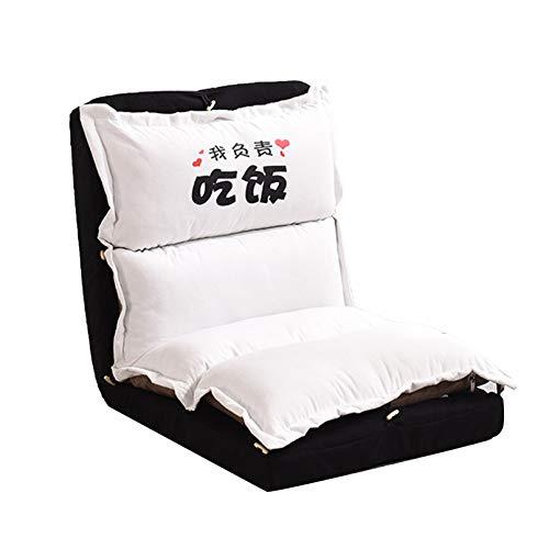 Sofá Perezoso Individual Plegable 5 Posiciones Ajustable Asiento Cojín de Suelo con Respaldo Silla Meditación para Sala Estar, Dormitorio, Oficina,Blanco