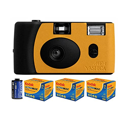 YASHICA MF-1 Snapshot Art 35mm Film Camera Set (Black/Orange Leather) + Kodak GC/UltraMax 400 Color Film 3-Pack Bundle (4 Items)