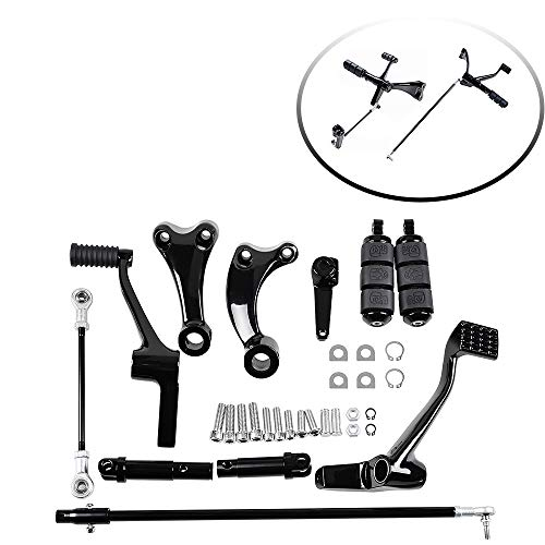 Black Forward Controls Pegs Levers Linkages Compatible with Harley Sportster XL 1200 883 2014-2020