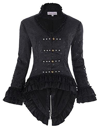 Belle Poque Schwarz Viktorianische Damen Gothik Jacke Vintage Jacke XL BP562-1