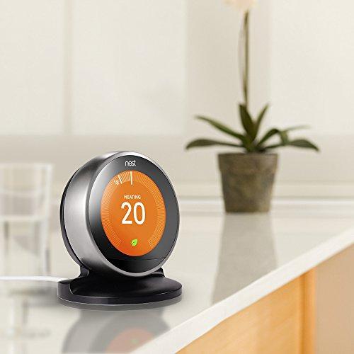 Soporte para termostato de aprendizaje nido de 3ª generación, de LUXACURY Nest Learning Termostato soporte de mesa versión actualizada (negro)