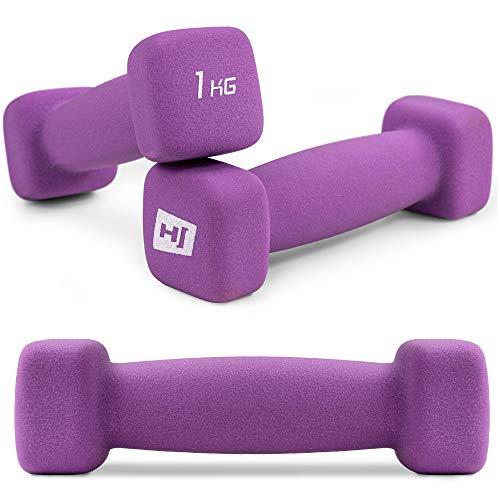 Hop-Sport Kurzhantel 2er Set aus Neopren in 6 Gewichtsvariationen 1-5kg ideal fürs Gymnastiktraining 2x1kg