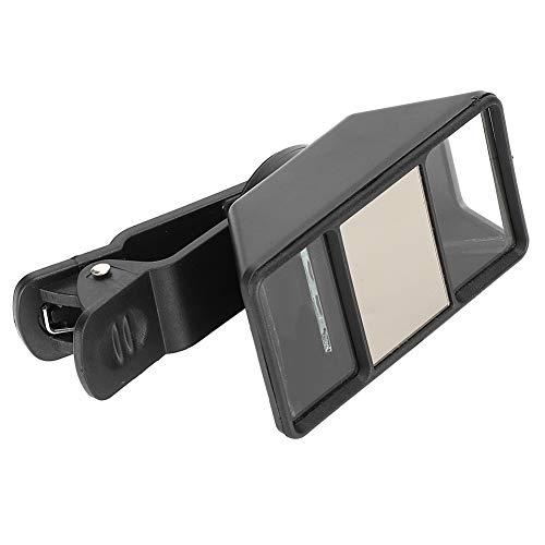 Lente de cámara 3D, Lente estereoscópica VR para teléfono, Lente de cámara Mini con Clip, con Cuatro Espejos Reflectantes de Alta precisión Plástico ABS + Cuarzo