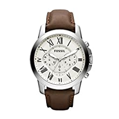 Case size: 44mm; Band size: 22mm; quartz movement with luminous 3-hand analog display; mineral crystal face; imported Round stainless steel case with white dial and Roman numerals Genuine brown leather band with buckle closure; interchangeable with a...