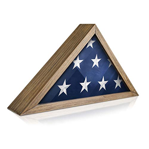 Rustic Flag Case - SOLID WOOD Military Flag Display Case for 9.5 x 5 American Veteran Burial Flag, Wall Mounted Burial Flag Frame, - Flag Shadow Box to display folded flag. (Weathered Wood)
