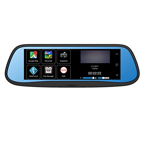 """BOYO VTG700X - Replacement Rear-View Mirror with 7"""" HD Monitor, GPS Navigation and Buit-in DVR (Android OS)"""