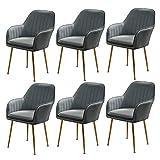 N&O Esszimmerstuhl 6er-Set Leder Gepolsterte Küchenstühle Sessel Moderne Akzente Freizeitstühle Schminkhocker (Farbe Beige Größe 1 Stück)