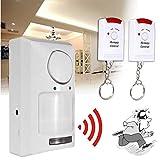 Wireless Pir Motion Sensor Alarm, 2 Remote Control Home Garage Caravan, Wireless DIY Smart Home Security System Kit (White)