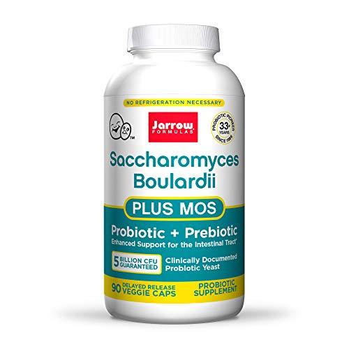 Jarrow Formulas Saccharomyces Boulardii + MOS - 5 Billion Organisms Per Serving - 90 Delayed Release Veggie Caps - Probiotic + Prebiotic - Intestinal Tract Support - Up to 90 Servings