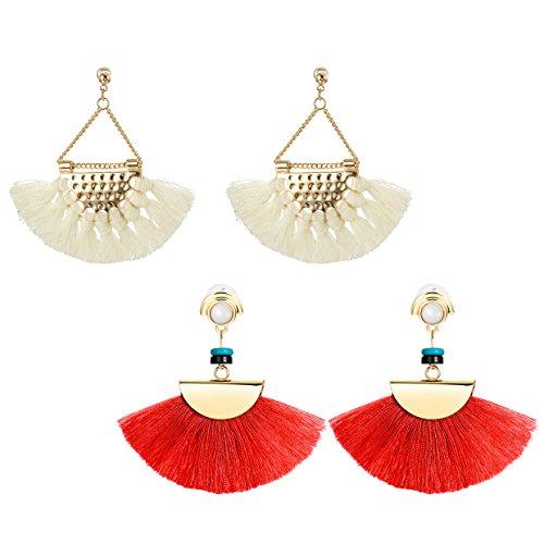JOERICA 2 Pairs Dangle Womens Earrings Long Fringe Drop Earrings Tassel Ear Drop