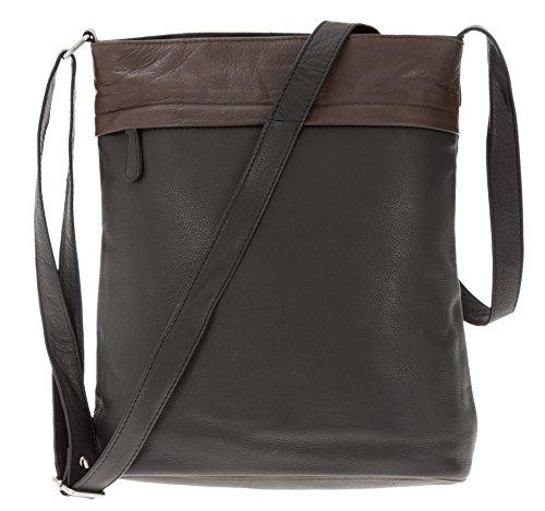 Leder Handtasche Cinino 2 Color Ledertasche Damen Tasche Bag 1161 Schwarz Braun