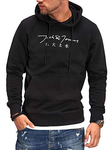 JACK & JONES Herren Hoodie Kapuzenpullover mit Print Sweatshirt Hoody Pullover (XXL, Black/Cloud Dancer)