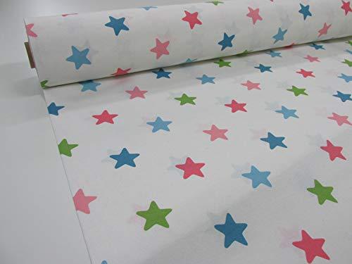 Confección Saymi Tela loneta Estampada 2,45 MTS Ref. Circo Estrellas, Doble Ancho 2,80 MTS.