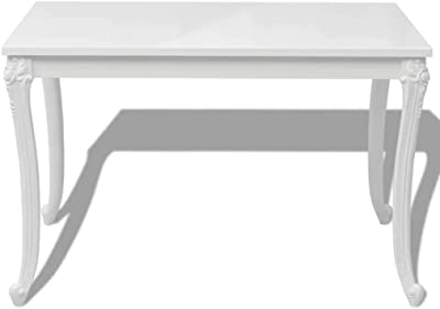 Amazon Com Tidyard High Gloss Dining Table Rectangular Dining Table For Home Dining Room Kitchen Living Room White Tables