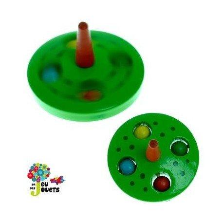 Toupie billes Jouet en bois Diamètre 5 cm pour enfant 3 ans + - Vert