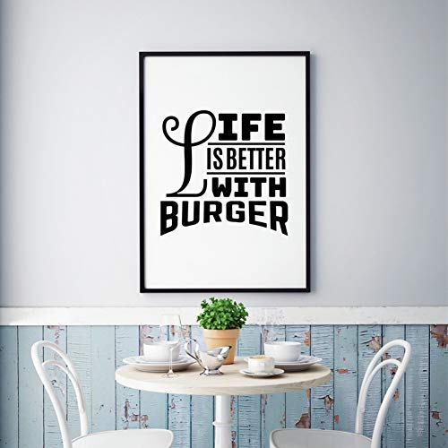 Gudojk muurschildering La Vita is beter met hamburger stempel kunstdruk op canvas, Amore Hamburger Wall Art restaurant vintage food decoratie 60x80cm(24x32inch)