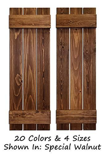 Board & Batten Shutters, Farmhouse Shutters, Wood Shutters Wall Decor, Interior Window Shutters, Rustic Decor - 20 Colors and 4 Sizes - Shown in Special Walnut