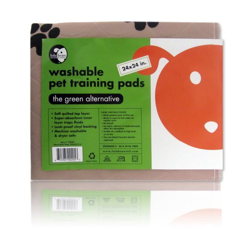 Lola Bean International 24-Inch by 24-Inch Washable Pet Training Pads, 2-Pack