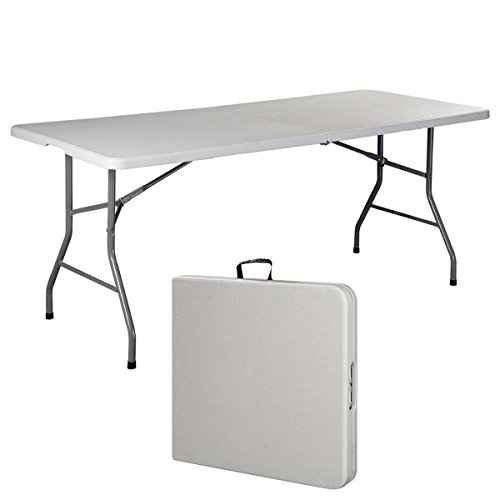6' Folding Table Portable Plastic Indoor Outdoor Picnic Party Dining Camp Tables (White) (1, White) (1, White) (6 Inches)