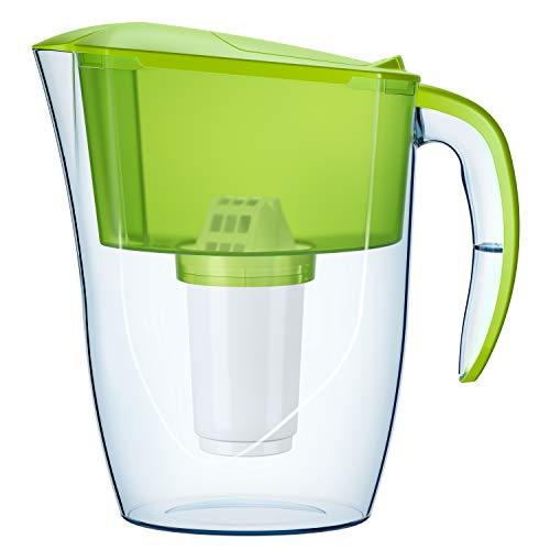 AQUAPHOR Smile hellgrün inkl. 1 A5 Filterkartusche-kompakter Wasserfilter zur Reduzierung von Kalk, Chlor & Schwermetallen, Kapazität 350 l, Kunststoff, Volumen 2,9 l