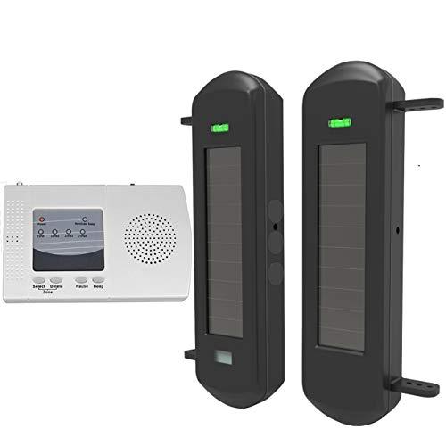 HTZSAFE Solar Wireless Driveway Alarm System-1/2 Mile Long Transmission Range-300 Feet Wide Sensor Range-No Wiring No Need Replace Battery-Outdoor Weatherproof Security Perimeter Alert System KIT