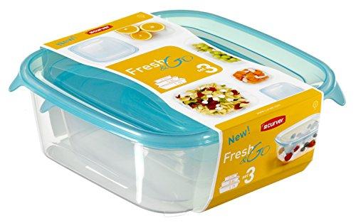 CURVER Frischhaltedose-Set Fresh&Go 3-teilig in transparent/ozeanblau, Plastik, 35 x 25 x 10 cm