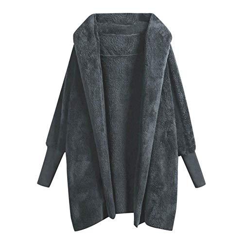 YEBIRAL Damen Winter Mode Plüschmantel Cardigan Jacke Parka Teddy-Fleece Warm Bequem Langarm Mantel Einfarbig Casual Kapuzenpullover Frauen Fleecemantel Outwear(XL,Dunkelgrau)