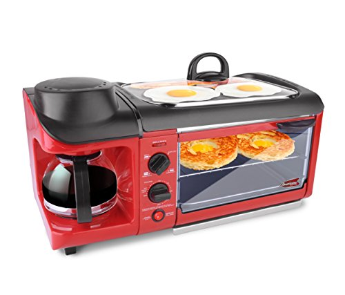 Elite EBK-1782R 3-in-1 Deluxe Breakfast Station, Red