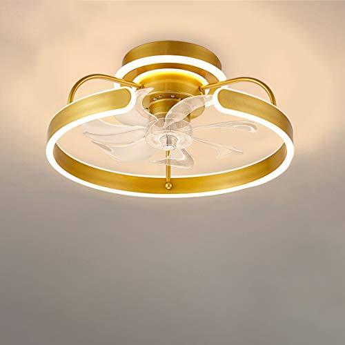 Silencio Ventilador de techo con Encendiendo LED Luces Moderno dorado Lámpara de techo con mando a distancia y Control de APP Regulable Tranquilo Lámpara de ventilador de techo por Sala Cuarto,A