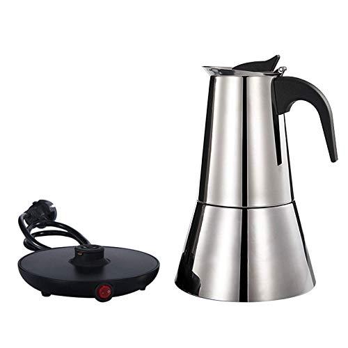 MXBAOHENG Cafetera eléctrica para café espresso (6 tazas, acero inoxidable, 220 V)