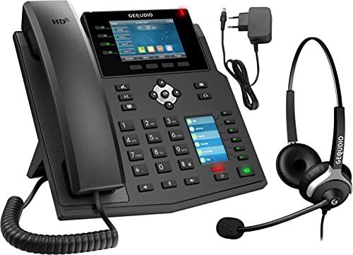 GEQUDIO IP Telefon GX5+ Set mit Netzteil Adapter & Headset - SIP VoIP - Kompatibel mit FritzBox - Integrierter Konferenzlautsprecher, deutschsprachige Anleitung (PDF) für Fritz Box