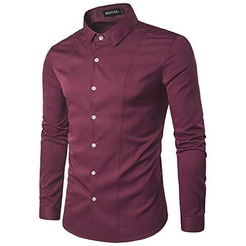 Heren casual klassieke lange mouwen button-down zakelijke overhemden Modieus effen kleur slank dieptepunt overhemd XXL