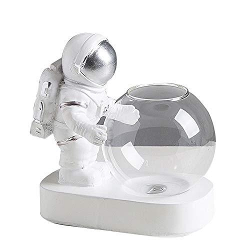 JHCHA Estatua de astronauta con luz para sala de estar, estatua de astronauta para niños, decoración de dormitorio, arreglo de flores, cristal transparente con astronauta regalo creativo