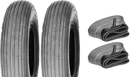 P4B   2X Schubkarren Reifen mit Schläuche (4.80/4.00-8)   Rillenprofil   Max. Tragekraft = 300 Kg