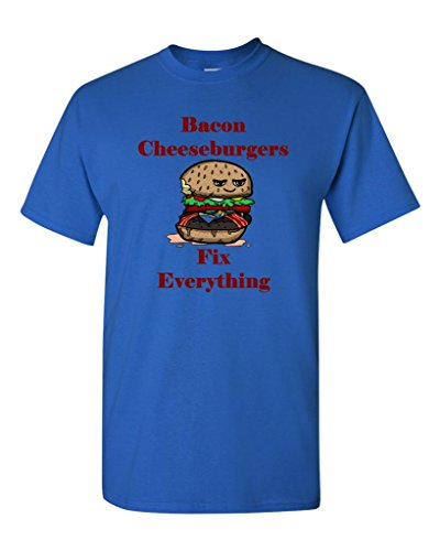 Bacon Cheeseburgers Fix Everything Adult DT T-Shirts Tee (X Large, Royal Blue)