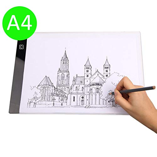i-ZAGA A4 LED Licht Pad Helligkeit dimmbar Leichtkasten Leuchttisch Tragbare Zeichnen Light Pad mit USB Kabel - Ideal für Malen Skizzierung Animation Zeichnung