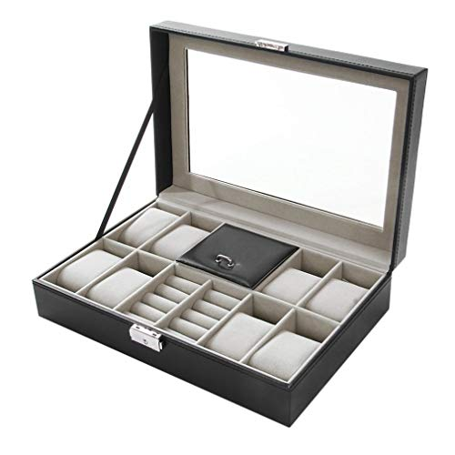 2 en uno 8 Rejillas Caja organizadora de Almacenamiento de Relojes y Cajas de colección de Anillos Negro Negro