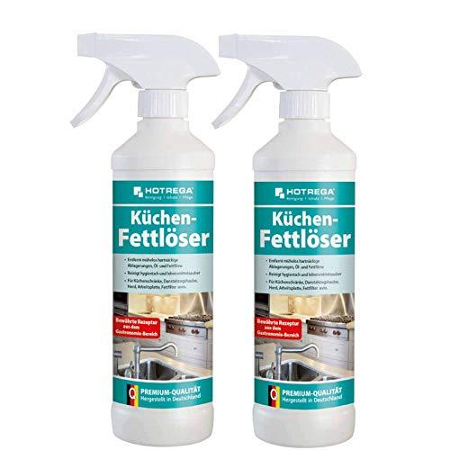 HOTREGA Küchen Fettlöser 2x 500ml - Fettreiniger, Küchenreiniger, Fettentferner, Arbeitsplattenreinger, Herdreiniger