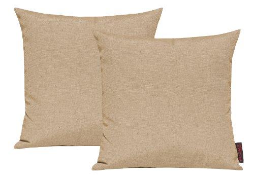 Fino Kissenhülle ca. 40 x 40 cm hochwertig & knitterarm Farbe 71 Beige (2er Set)