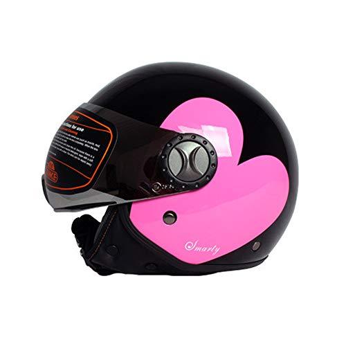 EDW TK701 Pink Heart · Motorrad Jet-Helm Chopper Bobber Moto-Helm Pilot Cruiser Roller-Helm Mofa Biker Retro Vespa-Helm · ECE-Zertifiziert · Inkl. Sonnenblende,M(57~58cm)
