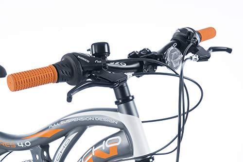 KRON ARES 4.0 Vollgefedertes Kinder Mountainbike 20 Zoll ab 6, 7, 8, 9 Jahre | 21 Gang Shimano Kettenschaltung mit V-Bremse | Kinderfahrrad 14 Zoll Rahmen Vollfederung | Grau Orange - 6