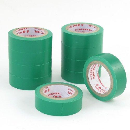 sourcing map 10 Pcs 8mm Isolierband Isoband Elektriker Klebeband Tape Rolle 5M 16.4 Ft grün