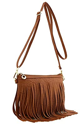 Small Fringe Crossbody Bag with Wrist Strap Tan