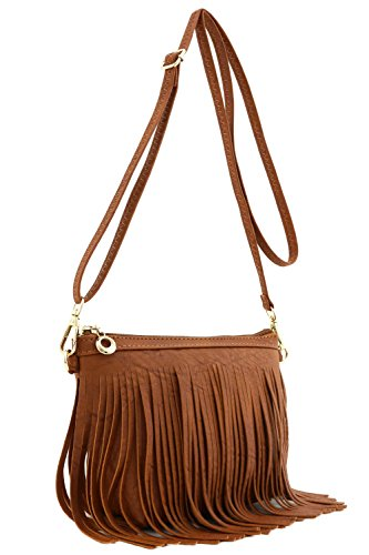 Small Fringe Crossbody Bag with Wrist Strap Tan