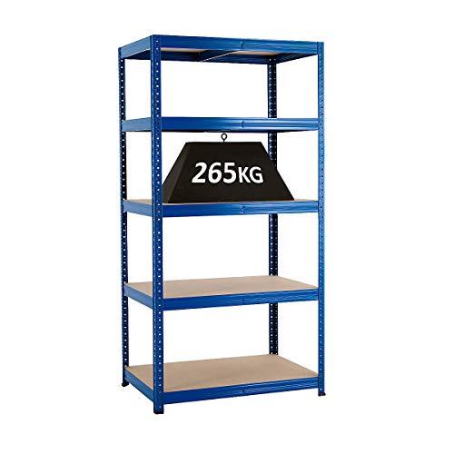 Rayonnage emboîtable bleu, charge max. 265 kg - Rayonnage métallique rayonnage entrepôt stockage atelier (900 x 600)