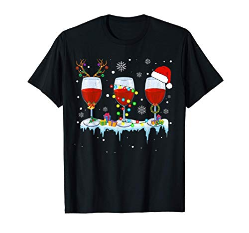 Three Glass Of Red Wine Funny Drinker Christmas Gifts T-Shirt
