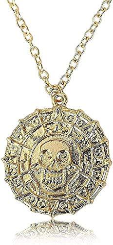 WSBDZYR Co.,ltd Collar de Moda Hombre Señora Mujer Niña Mujer Novia Metal Color Dorado Monedas de Oro Azteca Colgante Collar con dijes 3