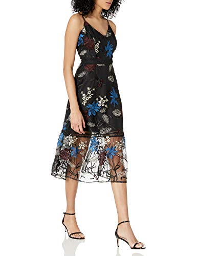 Jack by BB Dakota Women's Let's Get This Thread Embroidered Mesh Midi, Black, 4