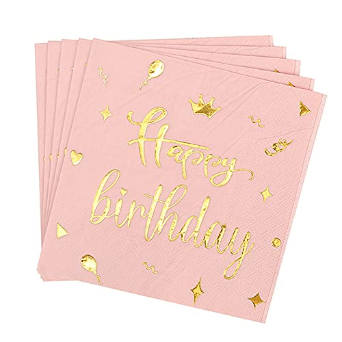 otutun Servietten Geburtstag Rosegold, 60 Stück Geburtstag Servietten Gold Happy Birthday Servietten, Hochwertige Papierservietten Rosa Gold Pink Papierservietten für Geburtstag Party Deko (33x33cm)